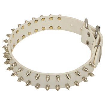 Spiked White Leather Collar for Dog Walking