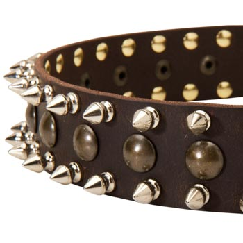 Dog Leather Collar with Hand Set Spikes