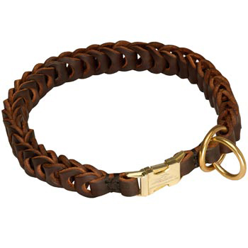 Dog Leather Collar Braided Design