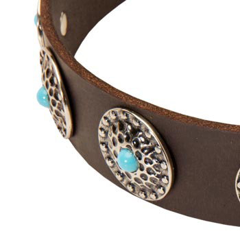 Blue-Stones Leather Dog Collar