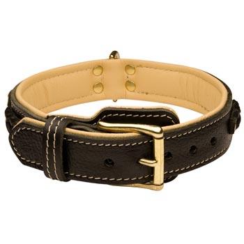 Dog Decorated Leather Dog Collar