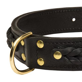 Dog Wide Leather Collar with D-ring