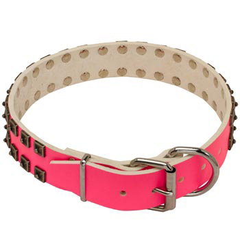 Dog Pink Leather Collar for Walking She-Dogs