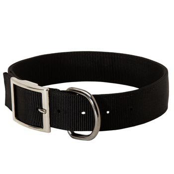 Nylon Dog Collar with Adjustable Steel Nickel Plated Buckle