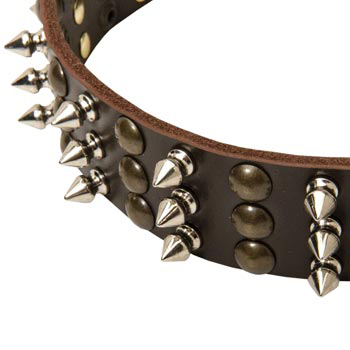 3 Rows of Spikes and Studs Decorative Dog Leather Collar